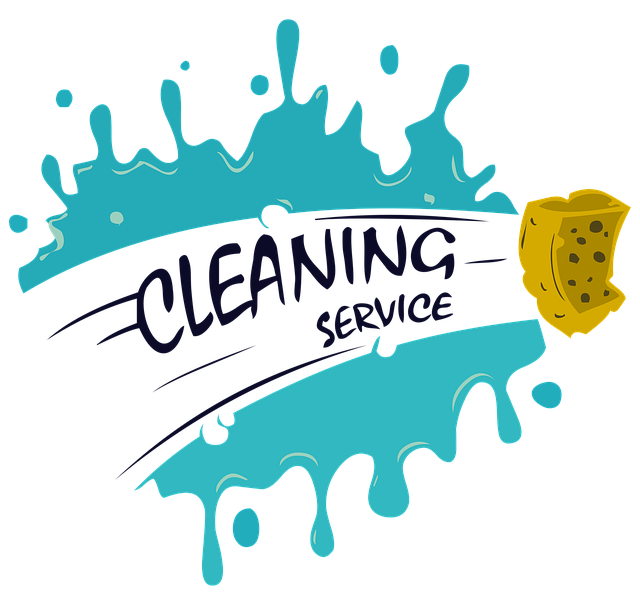 An illustration containing a sponge that cleans paint and the words Cleaning Service that are left after cleaning.