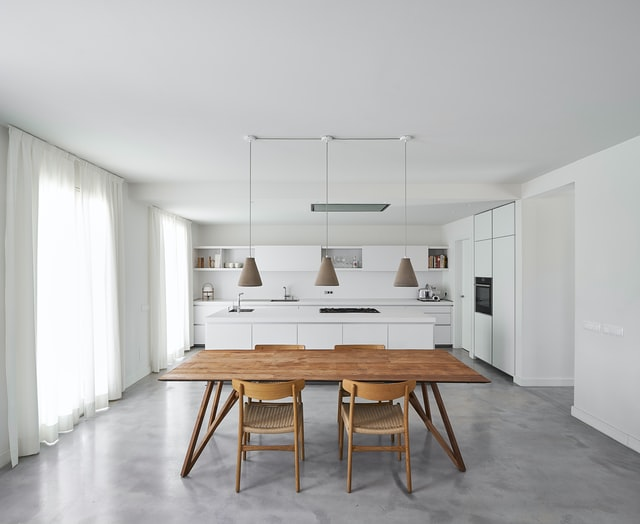 Table in clean kitchen