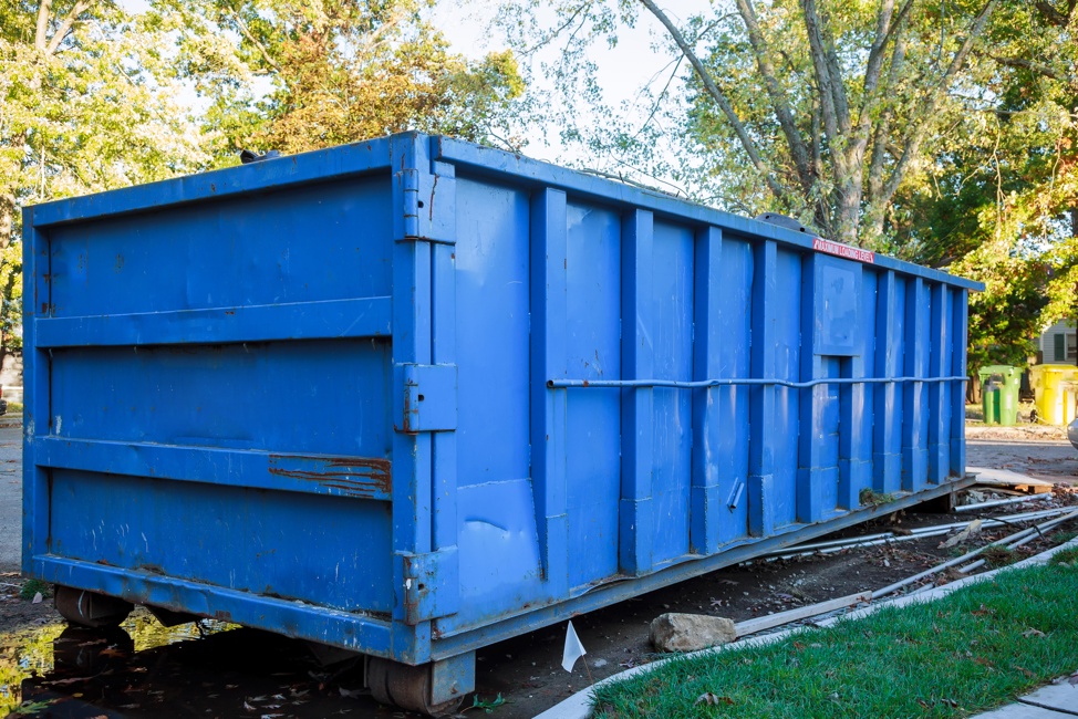 Blue Roll Off Dumpster