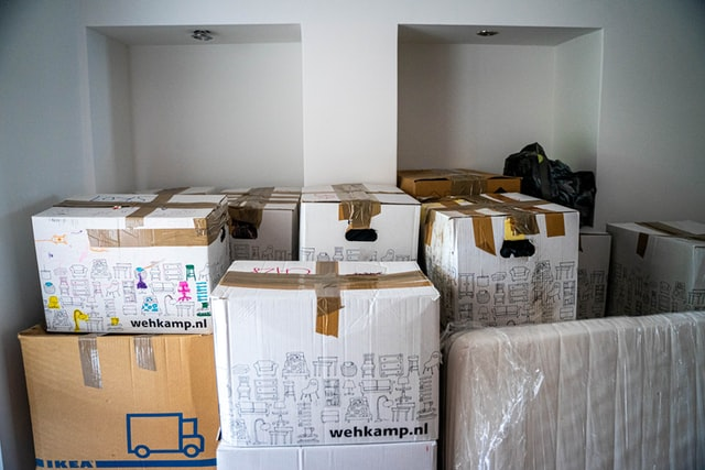 Packed boxes piled on top of each other